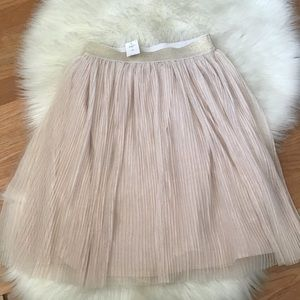 Gap girls soft pink tulle pleated midi skirt